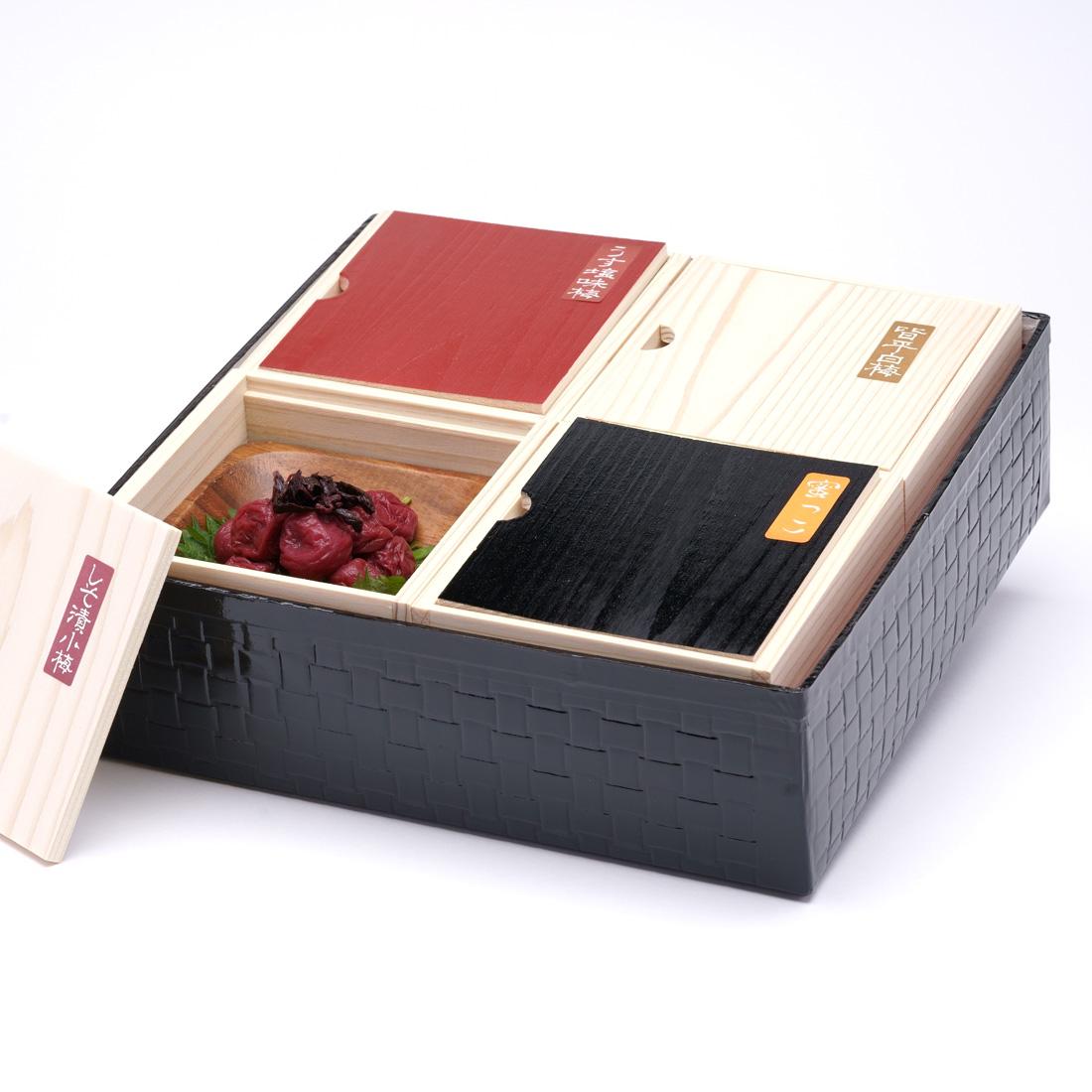 高級南高梅 食べ比べ4種 紀州塗箱 網代模様商品写真